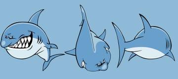 0 καρχαρίας κινούμενων σχεδίων μπροστινό και πίσω μέρος διανυσματική απεικόνιση