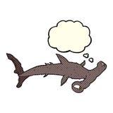 καρχαρίας κινούμενων σχεδίων hammerhead με τη σκεπτόμενη φυσαλίδα Στοκ Εικόνες