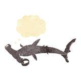καρχαρίας κινούμενων σχεδίων hammerhead με τη σκεπτόμενη φυσαλίδα Στοκ Φωτογραφίες