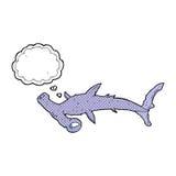 καρχαρίας κινούμενων σχεδίων hammerhead με τη σκεπτόμενη φυσαλίδα Στοκ φωτογραφία με δικαίωμα ελεύθερης χρήσης