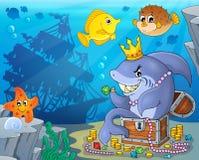 Καρχαρίας με την εικόνα 3 θέματος θησαυρών Στοκ εικόνα με δικαίωμα ελεύθερης χρήσης