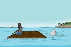 Καρχαρίας πίσω από το άτομο στο σύνολο απεικόνιση αποθεμάτων