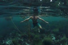 Καρχαρίας Π Ο Β από τον κολυμβητή που προχωρεί το νερό στα ρηχά νερά του ωκεανού στοκ εικόνα με δικαίωμα ελεύθερης χρήσης