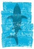 Καρχαρίας στα ωκεάνια κύματα Διανυσματικό υποβρύχιο μπλε υπόβαθρο illustrat Στοκ Φωτογραφίες
