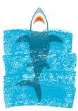Καρχαρίας στα ωκεάνια μπλε κύματα Διανυσματική ανασκόπηση Στοκ εικόνα με δικαίωμα ελεύθερης χρήσης