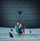Καρχαρίας στο εσωτερικό στοκ εικόνες με δικαίωμα ελεύθερης χρήσης