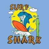 Καρχαρίας surfer Τυπωμένη ύλη για την μπλούζα διανυσματική απεικόνιση