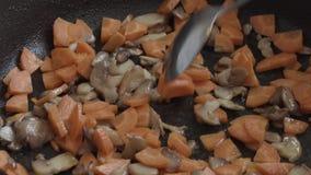 Καρότα με τα μανιτάρια στα τηγανητά σε ένα τηγάνι απόθεμα βίντεο