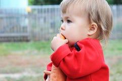 Καρότο δαγκώματος μωρών στοκ εικόνα με δικαίωμα ελεύθερης χρήσης