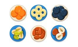 Καρύδια και σύνολο μούρων, ανανάς, βακκίνιο, λευκαγκαθιά, φυστίκι, αμύγδαλο, φουντούκι, διανυσματική απεικόνιση τοπ άποψης επάνω διανυσματική απεικόνιση