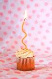 Καρύκευμα κολοκύθας cupcake στη ρόδινη και άσπρη ανασκόπηση Στοκ Εικόνες
