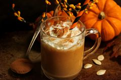 Καρύκευμα κολοκύθας latte με την κτυπημένη κρέμα Στοκ Φωτογραφίες