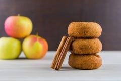 Καρύκευμα Donuts της Apple με τα ραβδιά κανέλας Στοκ Εικόνες