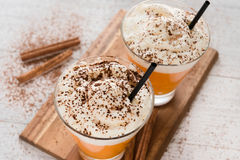 Καρύκευμα Latte κολοκύθας φθινοπώρου με το γάλα και την κρέμα στοκ εικόνα
