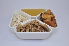 Καρύδια, μέλι, oatmeal και ξηρός - φρούτα για μια υγιεινή διατροφή Στοκ Εικόνες