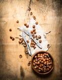 Καρύδια με τον καρυοθραύστης και το κοχύλι Στοκ φωτογραφία με δικαίωμα ελεύθερης χρήσης