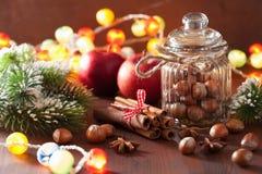 Καρύδια χριστουγεννιάτικων δέντρων κανέλας καρυκευμάτων χειμερινών διακοσμήσεων Στοκ Εικόνα
