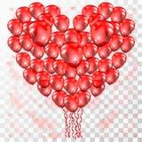 Καρδιά αγάπης μπαλονιών στο διαφανές υπόβαθρο Στοκ εικόνα με δικαίωμα ελεύθερης χρήσης