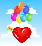 Καρδιά αγάπης στα σύννεφα Στοκ Εικόνες