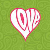 Καρδιά αγάπης στο άνευ ραφής υπόβαθρο του Paisley Στοκ Φωτογραφία