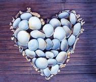 Καρδιά από τα άσπρα κοράλλια και τα κοχύλια στο ξύλινο υπόβαθρο Αναδρομικό ρομαντικό ντεκόρ από την εύρεση παραλιών Στοκ Φωτογραφίες