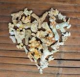 Καρδιά από τα άσπρα κοράλλια στο ξύλινο υπόβαθρο Χειροποίητο ντεκόρ από την εύρεση παραλιών Στοκ εικόνες με δικαίωμα ελεύθερης χρήσης