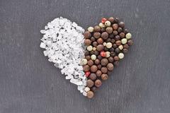 Καρδιά αλατιού και πιπεριών Στοκ Φωτογραφία