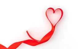 Καρδιά βαλεντίνων κόκκινο μετάξι κορδελλών η αγάπη ανασκόπησης κόκκινη αυξήθηκε λευκό συμβόλων Στοκ φωτογραφία με δικαίωμα ελεύθερης χρήσης