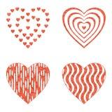 Καρδιά βαλεντίνων με τα σχέδια, σύνολο Στοκ εικόνες με δικαίωμα ελεύθερης χρήσης