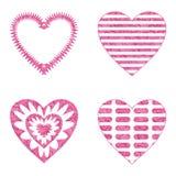 Καρδιά βαλεντίνων με τα σχέδια, σύνολο Στοκ Εικόνα
