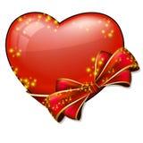 Καρδιά βαλεντίνων με το τόξο Στοκ Φωτογραφία