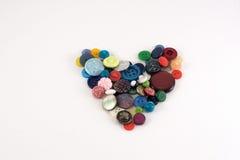 Καρδιά βαλεντίνων των κουμπιών επιλογής χρωμάτων Διάφορα ράβοντας κουμπιά καθορισμένα Στοκ Εικόνα