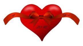 Καρδιά για την ημέρα ενός βαλεντίνου με το κόκκινο τόξο Στοκ Φωτογραφίες