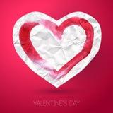 Καρδιά εγγράφου με το κτύπημα watercolor στο ροζ Στοκ Φωτογραφίες