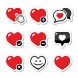 Καρδιά, εικονίδια αγάπης καθορισμένα διανυσματική απεικόνιση