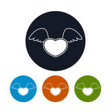 Καρδιά εικονιδίων με τα φτερά, διανυσματική απεικόνιση Στοκ Φωτογραφία