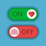 Καρδιά επάνω, εγκέφαλος μακριά Στοκ Εικόνες