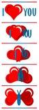 Καρδιά, επιστολές, πεταλούδα Στοκ Εικόνες