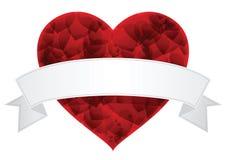 Καρδιά ημέρας βαλεντίνου με το άσπρο διάνυσμα ετικετών Στοκ Εικόνες
