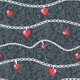 Καρδιά-και-αλυσίδα-πρότυπο Στοκ φωτογραφία με δικαίωμα ελεύθερης χρήσης