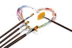 Καρδιά και βούρτσες Στοκ Εικόνες