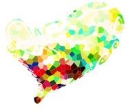 Καρδιά και ζωηρές ζωηρόχρωμες μορφές, εικόνα αγάπης Στοκ Εικόνα