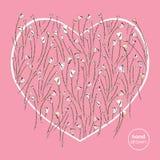 Καρδιά και τυποποιημένο διανυσματικό υπόβαθρο τριαντάφυλλων Τα αφηρημένα λουλούδια δίνουν τη συρμένη απεικόνιση αγάπης Σχέδιο καρ Στοκ Εικόνα