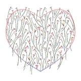 Καρδιά και τυποποιημένο διανυσματικό υπόβαθρο τριαντάφυλλων Τα αφηρημένα λουλούδια δίνουν τη συρμένη απεικόνιση αγάπης Σχέδιο καρ Στοκ Εικόνες