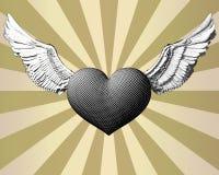 Καρδιά και φτερό χάραξης να λάμψει BG Στοκ εικόνες με δικαίωμα ελεύθερης χρήσης