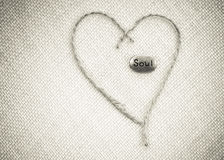 Καρδιά και ψυχή Burlap Στοκ εικόνα με δικαίωμα ελεύθερης χρήσης