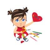 καρδιά κοριτσιών λίγα διανυσματική απεικόνιση
