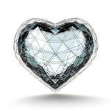 Καρδιά κρυστάλλου στο ασημένιο πλέγμα στο άσπρο υπόβαθρο Στοκ Φωτογραφίες