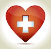 Καρδιά-κόκκινος-σταυρός Στοκ Εικόνες