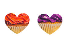 Καρδιά με ένα υπόβαθρο των ζωηρόχρωμων cupcakes στο λευκό Στοκ Φωτογραφίες